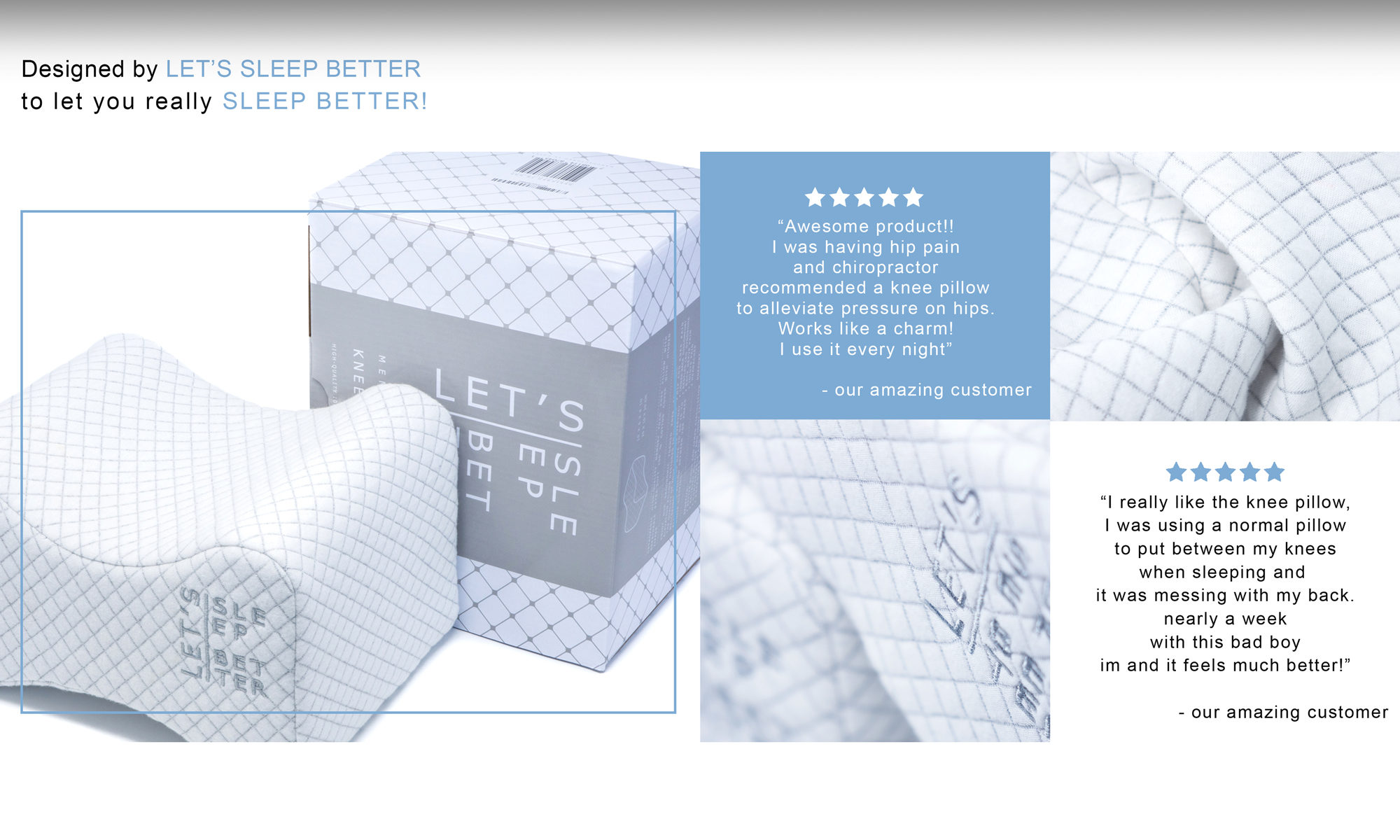 LET'S SLEEP BETTER knee pillow for side sleepers, memory foam, premium, high quality, amazon