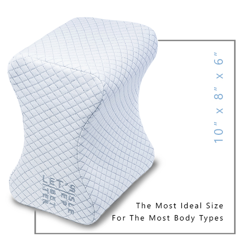LET'S SLEEP BETTER Knee Pillow for side sleepers memory foam cotton cover